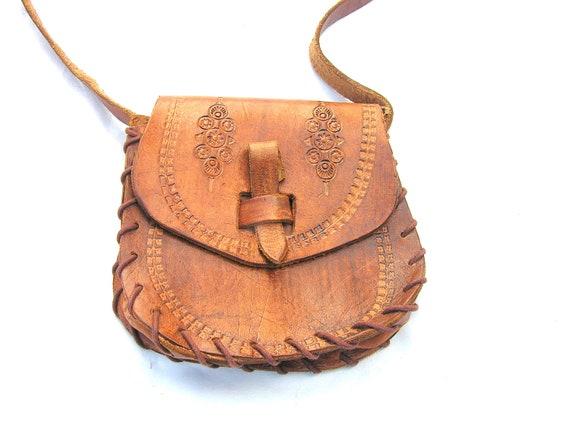 Genuine leather handbag purse handmade warm cognac brown for her woman