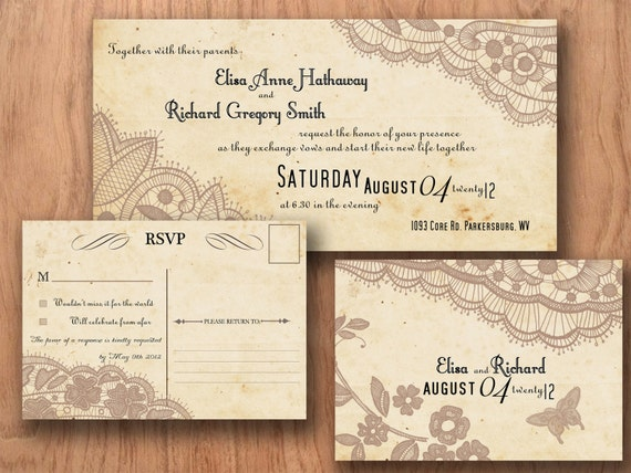 Printable VINTAGE WEDDING INVITATIONS Template - Baltimore Lace Suite