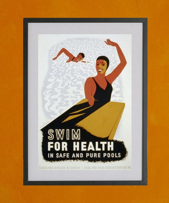 Swim For Health WPA Poster, 1940 - 8.5 x 11 Poster Print - also available in 13x19 - see listing details