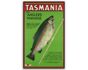 Vintage Travel Tasmania Poster on 8x12.75 Popmount Ready to Hang FREE SHIPPING