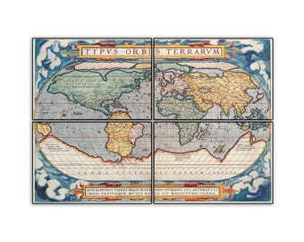 Latin World Map on 11.75x8 PopMount Ready to Hang FREE SHIPPING