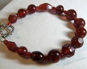 Red Glass Bracelet Winter Berry Pomegranate Color