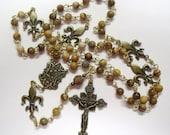 Fleur Di Lis Jasper Rosary Bronze Color
