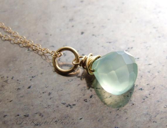 Chalcedony necklace - aqua blue mint chalcedony 14k gold-filled pendant eco-friendly bridesmaid bridal wedding birthday Gift
