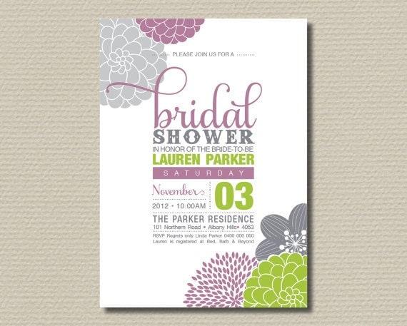 Printable bridal shower invitation modern by rosiedaydesign for Bridal shower email invitations
