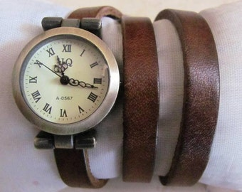Vintage Style Handmade Bracelet Leather Wrist Watch FREE SHIPPING