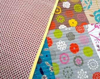 Modern Baby Quilt in Linen Perfect for Crib or Stroller