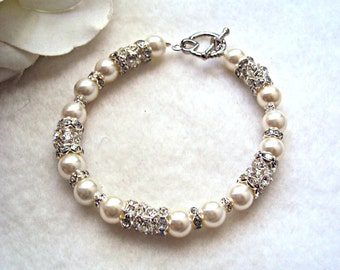 Bridal Bracelet  - Ivory Pearls - customize it for free