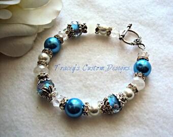 "Women's ""Blue Skies"" Lampwork & Crystal Bracelet - Custom Sizing Available"