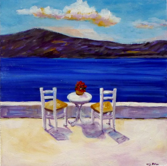 """Original Acrylic Painting (8 x 8 inch) Titled """"A Table for Two"""" by Tina Petersen"""