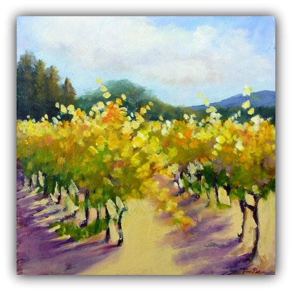 Small Original Oil Painting (6 x 6 Inch) of  Golden Vines in Napa by Tina Petersen