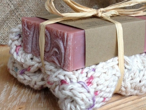 Rooibos & Rose Clay Soap Gift Set, soap and handknit washcloth, all natural soap, scented soap, stocking stuffer, teacher gift