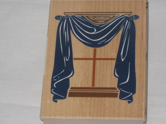 Mounted Rubber Stamp of Framed Window with Drapes