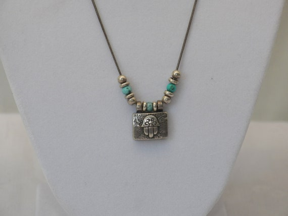 Sterling Silver and Turquoise Stone Hamsa Stone Necklace- Stamped 925 ITALY- Protection -Hamesh Hand