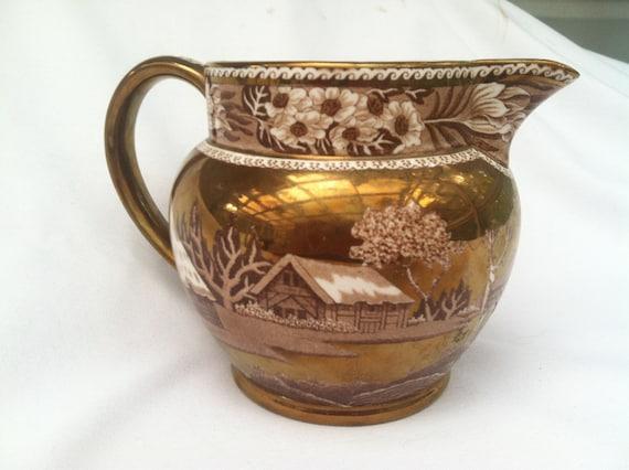 Gorgeous Wedgwood Porcelain Gold Brown Copper Luster Milk Jug -Pitcher - Fallow Deer Pattern-England- Creamer- Serving Decor
