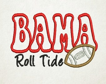 Bama Roll Tide, Alabama Applique, Football Applique, Embroidery Design (71) Instant Download