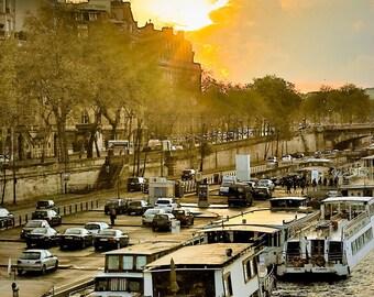 Rush Hour along the Seine,Fine Art Photography Paris,France,multiple sizes available-parisian, Sunset,Cityscape, Seine,Boats,vintage feel