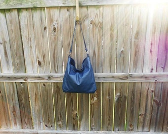 Blue Leather Hobo Bag
