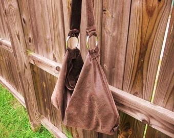 Faux Suede Boho Style Hobo Bag