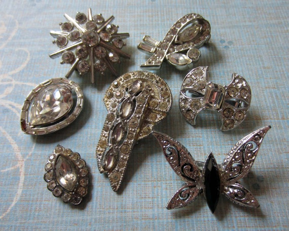 vintage rhinestone destash lot art deco brooch dress clip butterfly