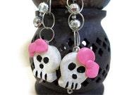 Them Girly Bones Girly Skull Earrings, Halloween Earrings, Skull jewelry, Christmas gifts, stocking stuffers