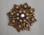 Large vintage AB rhinestone and pearl flower brooch