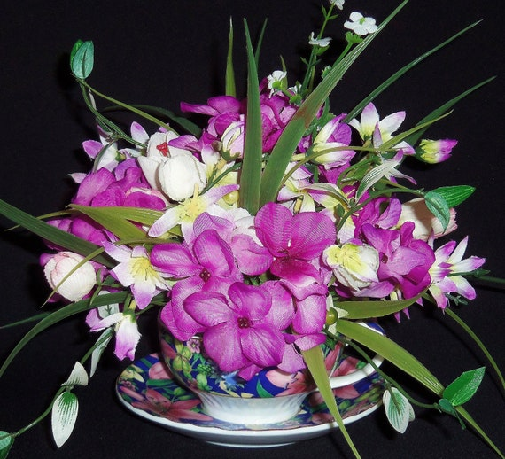 Teacup Flower Arrangement,  White Crocus, Lavender Forget-me-nots, Spring Floral Arrangement, Silk Flower Arrangement, Artificial Flowers