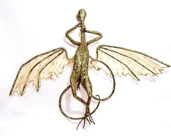 Sleeping Fairy Dragon Art Doll: Oakleaf, Bronze Colored Dragon