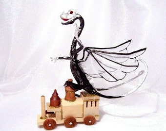 Dragon Riding Toy Train Engine: Fairy Dragon Art Doll in Black and Silver