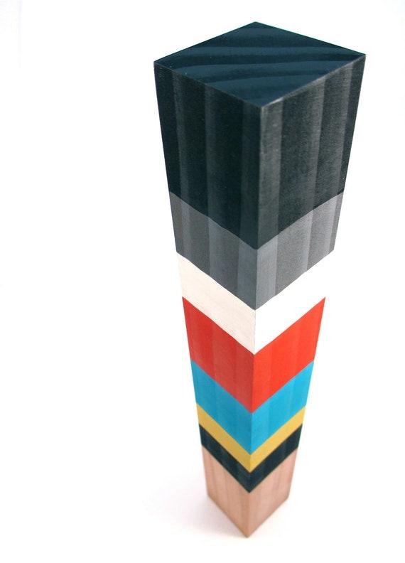 Minimalist Wood Sculpture Modern Tribal Art by Totem Color Blocks