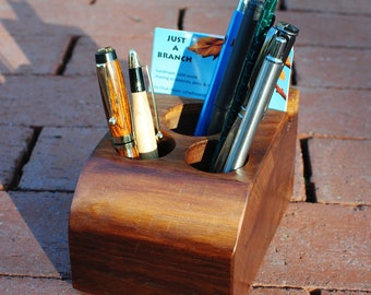 Desk Organizer- Rustic Walnut Wood-- holds pens, pencils, and business cards