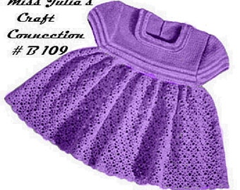A BEST Vintage Baby Girl Toddler  Crochet Dress Striped Yoke and Sleeves B109 PDF Digital Crochet Pattern