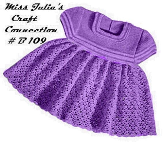 Vintage Baby Girl Toddler  Crochet Dress Striped Yoke and Sleeves B109 PDF Digital Crochet Pattern