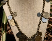Antique Coins on Brass Chain Necklace