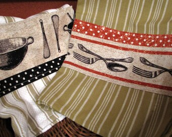 2 cotton kitchen towels, cooking theme, tea towels, pots and pans, silverware
