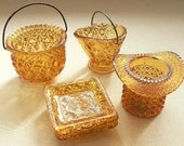 Vintage Fenton Amber  Glass Collection - Coal Scuttle, Top Hat, Ash Trays and Cauldron - Hobnail