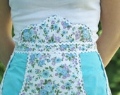Vintage Half Apron With Mock Bib and Blue Inlayed Pockets