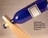 Wine Bottle Holder in Maple and Cherry Handmade Balancing Wine Bottle Holder
