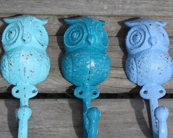 NEW COLORS   Trio of Cast Iron Owl Wall Hooks / Coat Hooks / Racks