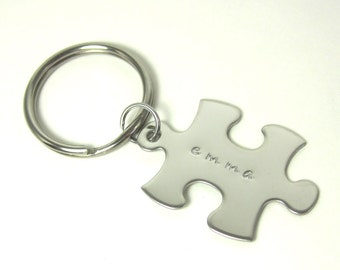 Personalized Puzzle Piece Key Chain - Custom Stainless Steel Keychain Valentine's Day Wedding Anniversary Birthday Sisters Best Friends