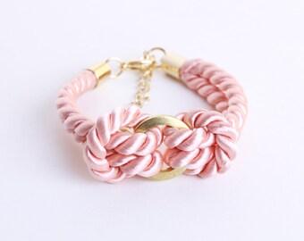 SALE - Rayon cord bracelet in pastel rose