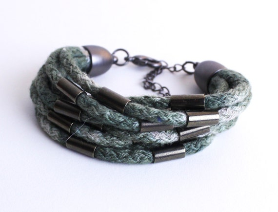 Dip Dye - Cotton Rope Bracelet in olive with beads