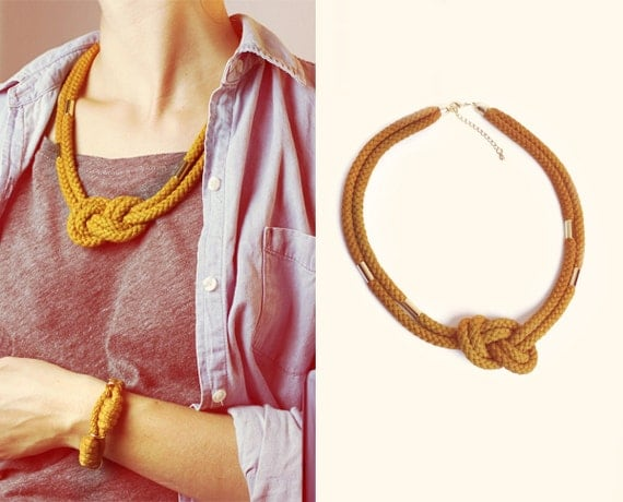 Reserved for Floweringheathers - Knotted Cotton rope necklace in mustard