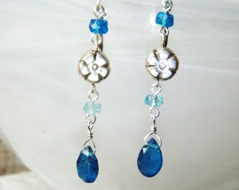 Peacock apatite earrings, sterling silver jewellery aa gemstones OOAK