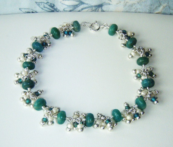 RESERVED - Russian amazonite bracelet with seed bead dangles,sterling silver jewellery