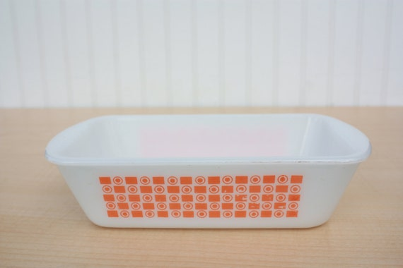 Vintage Glasbake Loaf Pan - Orange Circles And Rectangles