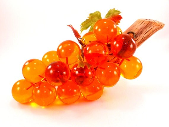 Vintage Orange Lucite Grapes Retro Decor