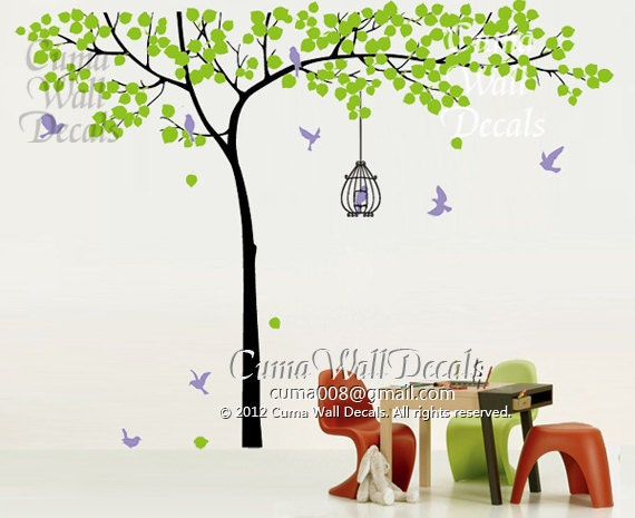 vinyl wall decals tree wall decal and birds wall decal by cuma