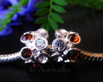 2PCs Dark Brown Crystal European Charm Beads For European Charm Bracelets - November Birthstone Smokey Topaz