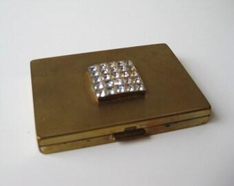 Rare 1940s Hattie Carnegie Gold Rhinestone Compact